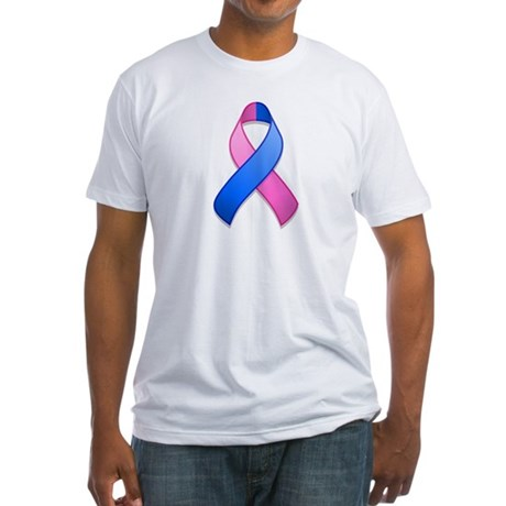 Blue and Pink Awareness Ribbon Fitted T-Shirt