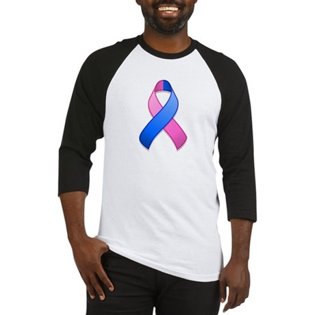 Blue and Pink Awareness Ribbon Baseball Jersey