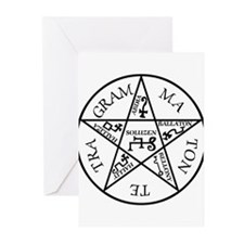 Black Pentagram of Solomon Greeting Cards (Pk of 2