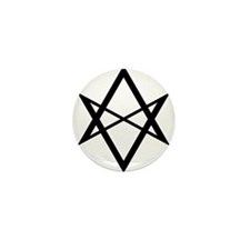 Black Unicursal Hexagram Mini Button