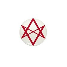 Red Unicursal Hexagram Mini Button
