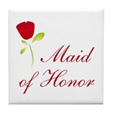 Red Maid of Honor Tile Coaster