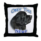 Newfie Obey Throw Pillow