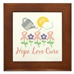 Flower Pink Ribbon Framed Tile
