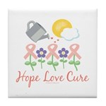 Flower Pink Ribbon Tile Coaster