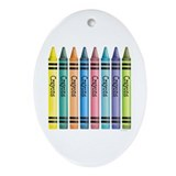 Colorful Crayons Oval Ornament
