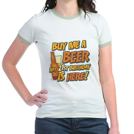 Buy Beer 21st Birthday Jr. Ringer T-Shirt