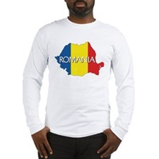 Map of Romania Long Sleeve T-Shirt