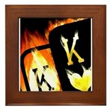 FLAMING POCKET KINGS COWBOYS POKER Framed Tile