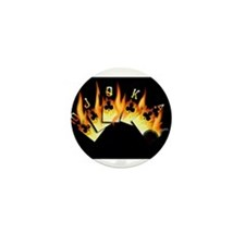 FLAMING ROYAL FLUSH POKER ART Mini Button