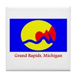 Grand Rapids MI Flag Tile Coaster