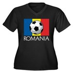 Romanian Soccer (2) Women's Plus Size V-Neck Dark