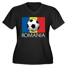 Romanian Soccer (2) Women's Plus Size V-Neck Dark