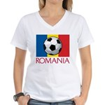 Romanian Soccer (2) Women's V-Neck T-Shirt