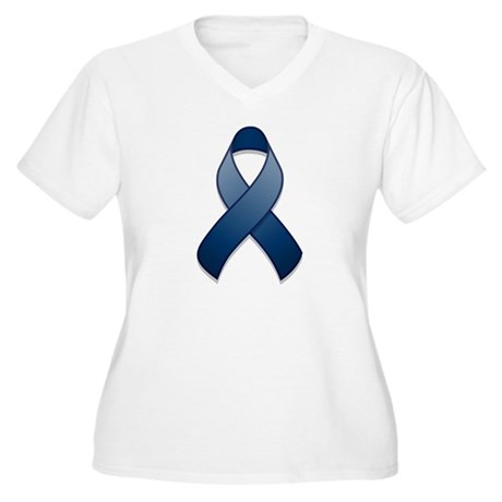 Dark Blue Awareness Ribbon Women's Plus Size V-Nec