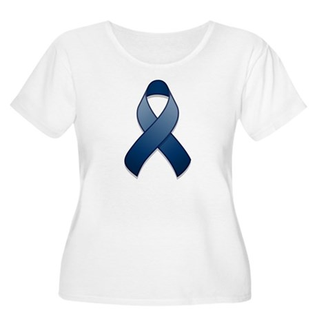 Dark Blue Awareness Ribbon Women's Plus Size Scoop