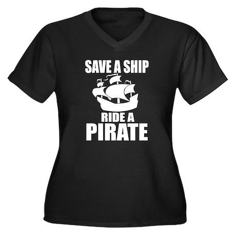 Save A Ship Women's Plus Size V-Neck Dark T-Shirt