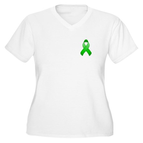 Green Awareness Ribbon Women's Plus Size V-Neck T-