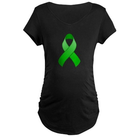 Green Awareness Ribbon Maternity Dark T-Shirt