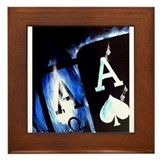 Blue Flame Pocket Aces Poker Framed Tile
