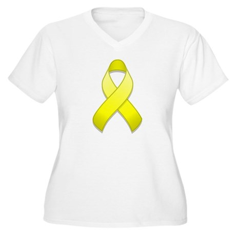 Yellow Awareness Ribbon Women's Plus Size V-Neck T