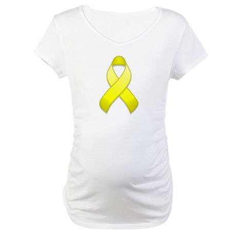 Yellow Awareness Ribbon Maternity T-Shirt