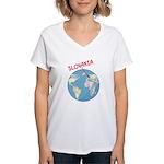 Slovakia Globe Women's V-Neck T-Shirt