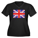 British Flag Women's Plus Size V-Neck Dark T-Shirt