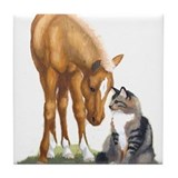 Mini Horse and Cat Tile Coaster