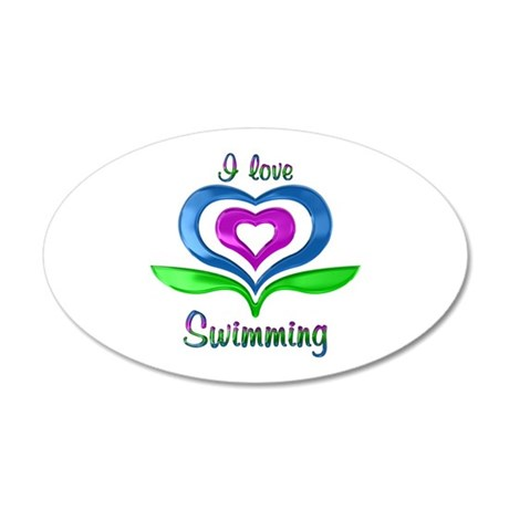 I Love Swimming Hearts 35x21 Oval Wall Decal