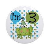 3 year old birthday frog Round Ornaments