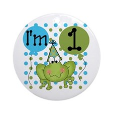 Frog 1st Birthday Ornament (Round)