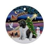 Xmas Magic & Landseer Newfie Ornament (Round)