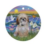 Lily Pond with a Shih Tzu Ornament (Round)
