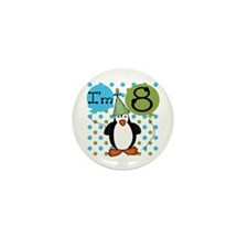 Penguin 8th Birthday Mini Button