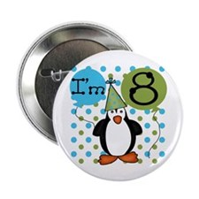 Penguin 8th Birthday Button