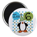 Penguin 6th Birthday Magnet