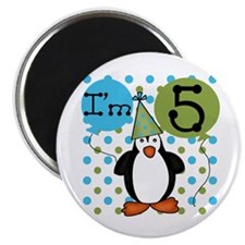 Penguin 5th Birthday Magnet