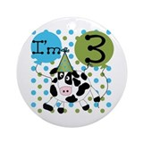 Cow 3rd Birthday Ornament (Round)