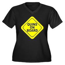 Quads on Board Women's Plus Size V-Neck Dark T-Shi