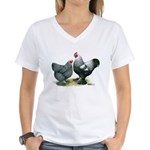 Dark Brahma Chickens Women's V-Neck T-Shirt