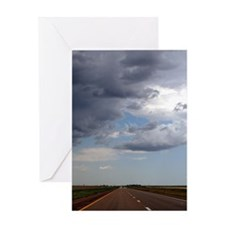 Rainstorm Approaches Road Greeting Card