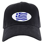Waving Greek Flag Black Cap