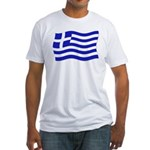 Waving Greek Flag Fitted T-Shirt