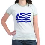 Waving Greek Flag Jr. Ringer T-shirt