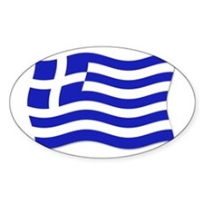 Waving Greek Flag Oval Decal