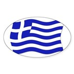 Waving Greek Flag Oval Sticker