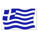 Waving Greek Flag Rectangle Sticker