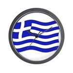 Waving Greek Flag Wall Clock
