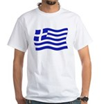 Waving Greek Flag White T-Shirt